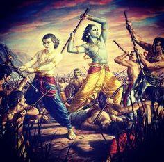 Krishna Balaram — Krishna and Balarama kill enemies