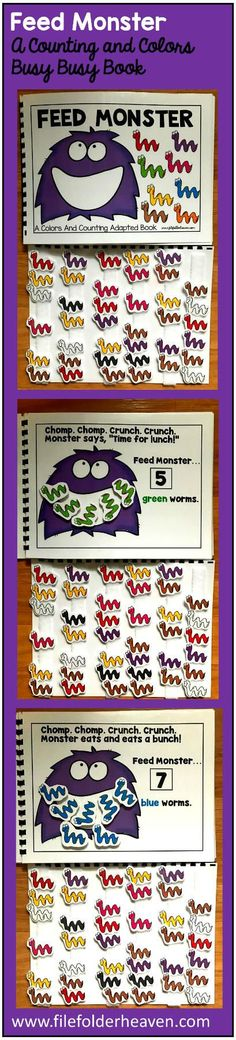 This Feed Monster Colors and Counting Adapted Book is an adapted book that focuses on colors and counting in a fun and interactive way. In a small group, independent center or independent work station. A teacher or student reads through the book and feeds the animal or critter, the correct number and color the food on each page. Sample text: