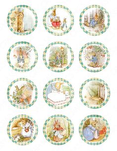 Peter Rabbit Cupcake Toppers Baby Shower Birthday Party Printable Peter Rabbit Decor Cupcake Picks Cupcake Wraps Instant Download by SassyGraphicsDesigns