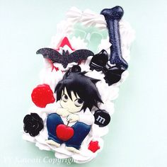 Custom Kawaii Decoden Anime Death Note L phone case for iPhone 4/4s, 5, 5s, 5c, samsung galaxy S3 S4 S5, Ipod Touch