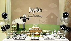 Printable backdrop  Shaun the sheep birthday party by envyanvi
