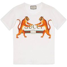 a72a8c87 Gucci Gucci Logo With Tigers T-Shirt ($490) ❤ liked on Polyvore featuring