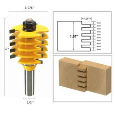 Woodworking Equipment Finger Joint Router and One Half Inch Shank Adjustable Box Woodwork Cutter Tools