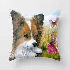 Throw Pillow Cushion case Made in USA Dog 123 Papillon Butterfly art L.Dumas #Unbranded
