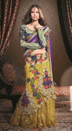 Purple faux georgette,net lehenga saree #lace #floral