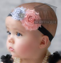 pink, black and white baby headband,vintage headband, shabby chic roses headband, girls headband on Etsy, $9.68 CAD