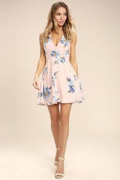 ca47c2ae7c Garden Walk Blush Pink Floral Print Lace-Up Skater Dress