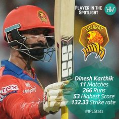 Our Player in the Spotlight for The Gujarat Lions is Dinesh Karthik! He has been the mainstay of their middle order and has been consistently scoring runs! #IPL #IPL2016 #Cricket #GL #RCBvGL