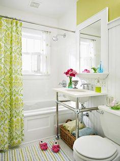 Baño verde lima - idea cesta toalla