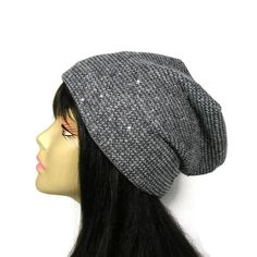 Grey Knit Beanie Gray Knit Beanie Grey Sequin Knit Hat Grey Sequin Slouch Hat Sequin Slouchy Hat Gray Sequin Slouch Hat Lightweight Knit Hat by LooptheLoop on Etsy Gorgeous and has a matching infinity scarf