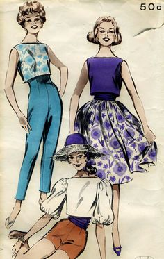 1950s Butterick 8986 Misses Cigarette Pants, Cropped Top and Full Skirt Plus Cummerbund Sewing Pattern Size 12 Bust 32