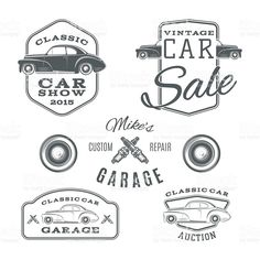 Set of vintage, classic car services labels isolated on white royalty-free stock vector art Vector Pop, Car Vector, Classic Car Garage, Classic Cars, Retro Cars, Vintage Cars, Logo Vintage, Monogram Design, Logo Design
