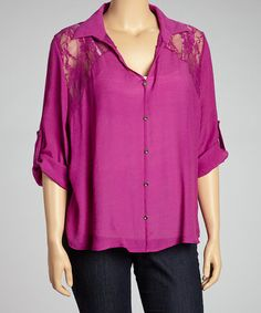 Look what I found on #zulily! Purple Open-Back Button-Up - Plus #zulilyfinds