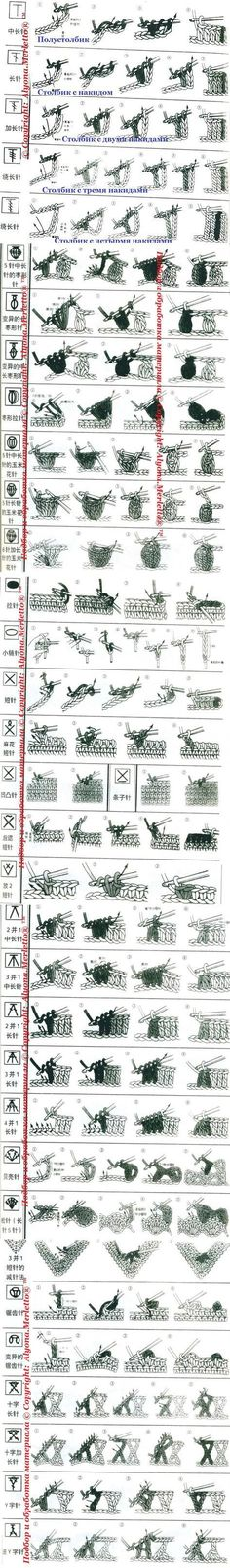 Sure the language isn't great but good visual of different crochet stitches