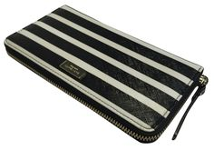 Kate Spade New York Brightwater Drive Neda Wallet Black/White Stripes Clutch.
