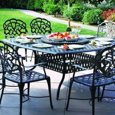 Darlee Catalina 8-person Cast Aluminum Patio Dining Set With Lazy Susan - Antique Bronze by Darlee. $2709.00. Antique bronze powder coating is tougher than conventional paint finishes. Cast aluminum construction promotes rust resistance. Lightweight aluminum frame makes rearranging your furniture easy. Set Includes: Dining Table, Lazy Susan, 8 Dining Chairs, Brown Polyester Cushions. Darlee Catalina 8-Person Cast Aluminum Patio Dining Set With Lazy Susan - Antique Bron...