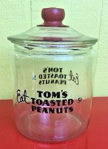 VINTAGE OLD TOM'S TOASTED PEANUTS 5 CENT STORE COUNTER DISPLAY GLASS JAR COUNTRY | eBay