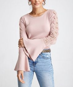a1d3816aced6 Look what I found on  zulily! Powder Lace-Accent Bell-Sleeve Top
