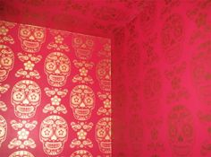 I LOVE THIS! Bespoke Day of the Dead wallpaper magenta by Emily Evans London