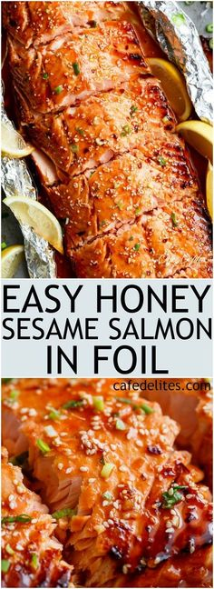 Honey Sesame Salmon In Foil is ready in under 20 minutes! Full of Asian flavours. - Honey Sesame Salmon In Foil is ready in under 20 minutes! Full of Asian flavours with ingredients y - Salmon Dishes, Fish Dishes, Seafood Dishes, Seafood Recipes, Cooking Recipes, Meal Recipes, Honey Salmon, Glazed Salmon, Asian Salmon