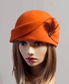 Amber, Velour Felt Cloche with draped pleated swirls, Orange colored millinery hat, LuminataCo via Etsy Millinery Hats, Fascinator Hats, Fascinators, Gatsby Hat, Funky Hats, Fedora Hat Women, Types Of Hats, Hat Blocks, Fleece Hats