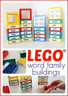 Word Family Lego Buildings – I Can Teach My Child! So fun! Use LEGOs to help your child learn word families! Phonics Activities, Educational Activities, Learning Activities, Teaching Reading, Kids Learning, Word Reading, Lego Words, Rhyming Words, Infant Activities