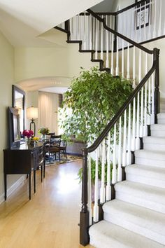 Staircase and Hallway Entry with cozy Nook - traditional - staircase - san diego - Robeson Design  fyi robeson design has a youtube channel that is fab