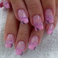 Pretty Nails - 32 Pretty Nails That Will Inspire You - Hashtag Nail Art Nail Tip Designs, French Nail Designs, Short Nail Designs, Nail Designs Spring, Summer French Nails, Cute Summer Nails, Cute Nails, Cute Acrylic Nails, Glitter Nail Art