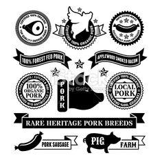 Natural Organic Pork Badges & Banners Royalty Free Stock Vector Art Illustration