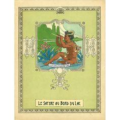 Le Satyre au Bord du Lac . Felix d'Eon original painting of an african-american satyr, gay art, vintage, victorian, edwardian, black, faun, vintage illustration.