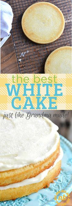 Wedding Cake Recipes This white cake recipe is what we consider to be the absolute best version, because it's a great combination of delicious and easy to make. - This is the best white cake! Easy to make and turns out great every time! White Frosting Recipes, Easy White Cake Recipe, White Cake Recipes, Best Vanilla Cake Recipe, White Desserts, Homemade White Cakes, Homemade Cake Recipes, Cupcakes, Cupcake Cakes