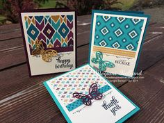 Megumi's Stampin Retreat, Stampin' Up! Tin of Cards Stamp Set, Stampin' Up! Bohemian DSP, Stampin' Up! Bold Butterfly Framelits