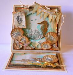 """Artdeco Creations Brands: Secrets of the Ocean Card created by Adriana Bolzon http://abinspirations.blogspot.com.au/ """"Sea Breeze"""" paper collection"""
