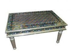 Floral Design Meenakari Coffee Table Hand Painted Furniture