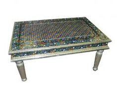 Floral Design Meenakari Coffee Table Hand Painted Furniture