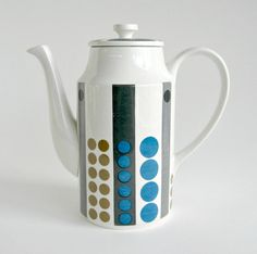 Modernist Midwinter Tempo Ceramic Coffee Pot / Teapot / Geometric Op Art Design / Mid Century Modern