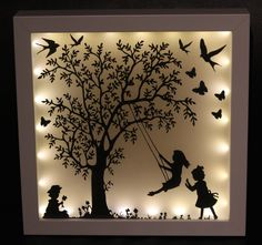 Picture Frame – illuminated picture frame, family, gift, – a unique product by Lillifeeee-Steffi on DaWanda - Papercut Art, Shadow Box Kunst, Diy Shadow Box, Shadow Box Frames, 3d Paper Art, Diy And Crafts, Paper Crafts, Creation Deco, Frame Crafts