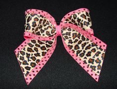 Custom Cheerleader Leopard Hot Pink Sequin Cheer Hair Bow; this is a need. <3
