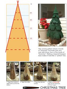 Chainsaw carving patterns free CHRISTMAS TREE 1of2. https://www.facebook.com/Bill.Sculptures.tronconneuse.Quebec