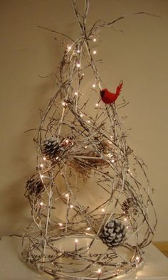 Cardinal 2015 Twig Christmas Tree with lights and pine cone - tree nches craft , Christmas table decoration