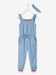 443ed9aaf8588 Combinaison à volants fille en denim léger bandeau assorti - bleu clair  delave