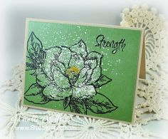 Janelle Stollfus of Rain Puddles Design creating with Stampendous Jumbo Magnolia Stamp and Essentials.