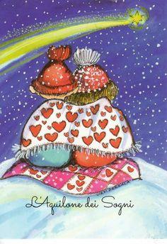 Postcrossing postcard from Finland Illustration Mignonne, Illustration Noel, Art Fantaisiste, Twinkle Twinkle Little Star, Couples In Love, Whimsical Art, Be My Valentine, Stargazing, Belle Photo
