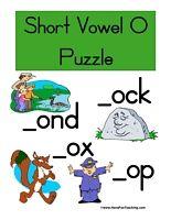 Short Vowel O Puzzle Word List: Block, Box, Clock, Cop, Dock, Doll, Dot, Drop, Fox, Hot, Lock, Mom, Mop, Ox, Pond, Rock, Sock, Stop Information: Short Vowel O Puzzle. Match the picture with the short vowel O word. (Print, Cut, Play!)