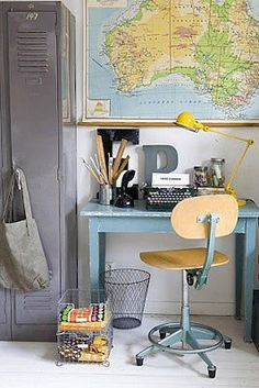 Vintage boys bedroom or study. Sensational map of Australia + old lockers & desk