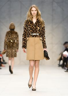 An animal print and cashmere caban and the Little Crush on the Burberry A/W13 Womenswear runway