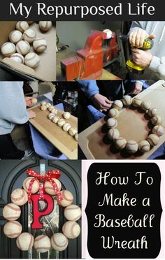 Repurposed Baseball Wreath How to make a baseball wreath with your old baseballs. How to make a repurposed baseball wreath out of those special balls you've been saving. Perfect for the baseball fan's front door. Baseball Wreaths, Baseball Crafts, Sports Wreaths, Baseball Mom, Softball Wreath, Baseball Stuff, Baseball Season, Baseball Scores, Baseball Pitching