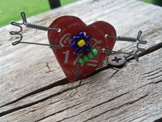 Vintage handmade Recycled Parts Heart Brooch  by bettyrayvintage, $22.00