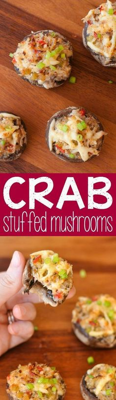 Stuffed Mushrooms with Garlic and Gouda Party it up with these Crab Stuffed Mushrooms :: a quick and tasty appetizer!Party it up with these Crab Stuffed Mushrooms :: a quick and tasty appetizer! Finger Food Appetizers, Yummy Appetizers, Appetizers For Party, Appetizer Recipes, Mexican Appetizers, Halloween Appetizers, Seafood Appetizers, Avacado Appetizers, Prociutto Appetizers