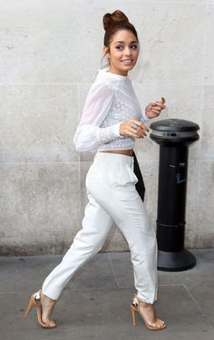 Ms. Hudgens in white on white.